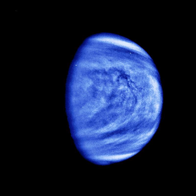 The planet Venus is seen in this photograph taken by the Galileo spacecraft's Solid State Imaging System