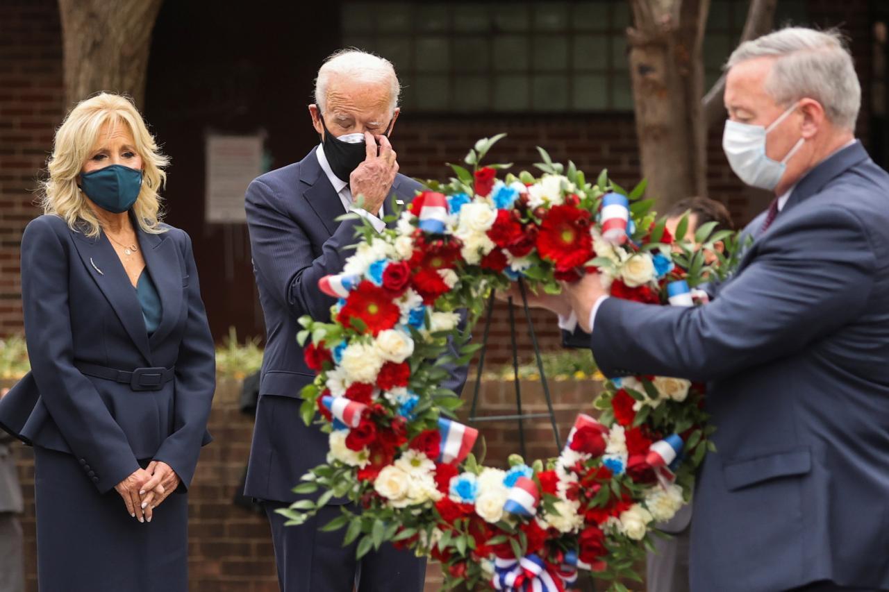 U.S. President-elect Joe Biden attends a Veterans Day observance in Philadelphia, Pennsylvania