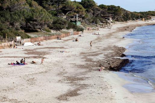 Varios bañistas este lunes en la playa de ses Salines.