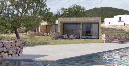 El anteproyecto del hotel rural preveía la construcción de cinco módulos integrados en el paisaje para ampliar la capacidad de alojamiento. En la imagen, una simulación en la que se muestra la piscina, los módulos y la casa arriba a la derecha.