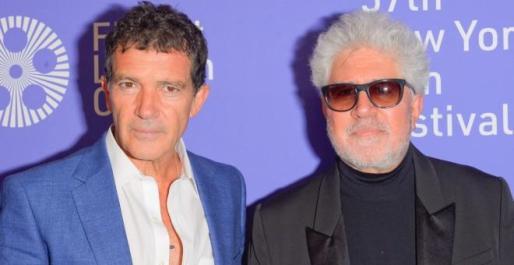 Antonio Banderas y Pedro Almodóvar durante el Festival de Cine de Nueva York.
