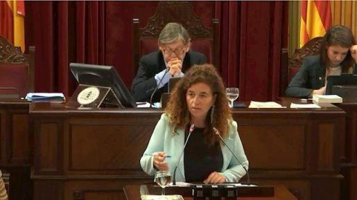 La portavoz del Govern, Pilar Costa, en el Parlament.