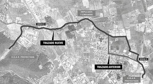 Mapa que muestra el nuevo trazado de las canalizaciones y el trazado anterior.