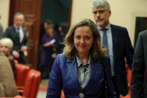 La Vicepresidenta Tercera del Gobierno y Ministra de Asuntos Económicos y Transformación Digital, Nadia Calviño, a su llegada a la Comisión de Asuntos Económicos y Transformación Digital del Congreso.
