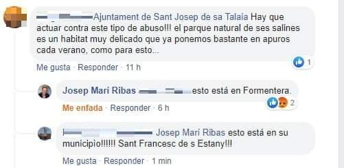 Captura de pantalla de la respuesta del alcalde de Sant Josep en la red social Facebook.