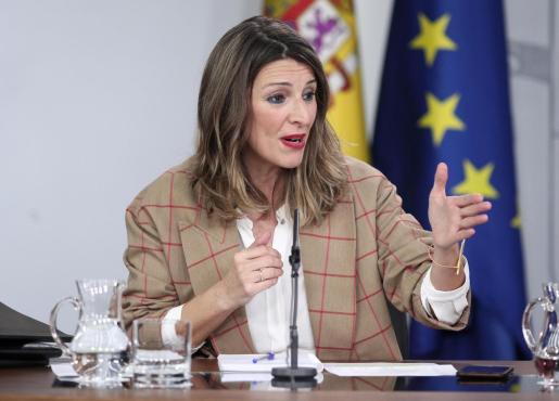 La ministra de Trabajo y Economía Social, Yolanda Díaz, durante la rueda de prensa tras el Consejo de Ministros de ayer.