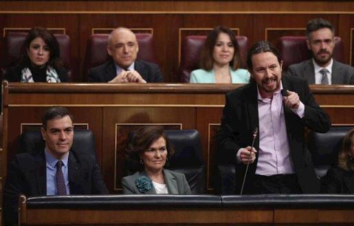 El vicepresidente segundo de Derechos Sociales y Agenda 2030, Pablo Iglesias, durante su intervención en el Congreso.