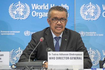 El director general de la Organización Mundial de la Salud (OMS), Tedros Adhanom Ghebreyesus, durante la rueda de prensa diaria del organismo sanitario internacional sobre el brote de coronavirus Covid-19. 24 de febrero de 2020. -