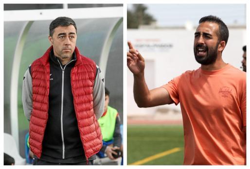De izquierda a derecha: Nacho Villodre, atento al encuentro entre el Portmany y el CD Ibiza; e Iván Gómez da instrucciones a sus jugadores durante un partido.