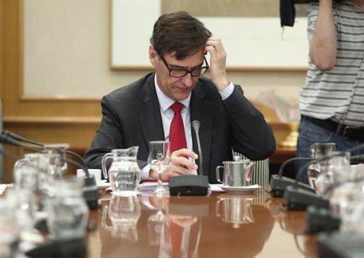 El ministro de Sanidad, Salvador Illa, durante la reunión efectuada por el Comité de Seguimiento del Coronavirus por la confirmación de un paciente con coronavirus en Madrid, en el Ministerio de Sanidad/Madrid (España), a 26 de febrero de 2020.