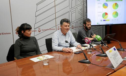 Marta Mallach, Joan Marí y Adrián Díaz, durante la rueda de prensa de ayer en el Consell d'Eivissa.