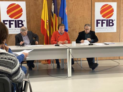 Miquel Bestard, en el centro de la imagen, durante la reunión que tiene lugar en la Federación para decidir si se detiene o no el fútbol base y regional.