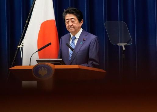 El primer ministro japonés Shinzo Abe, durante su intervención de este sábado ante los medios.