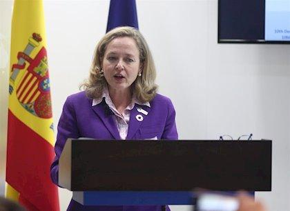 Nadia Calviño durante una conferencia, en una imagen de archivo.