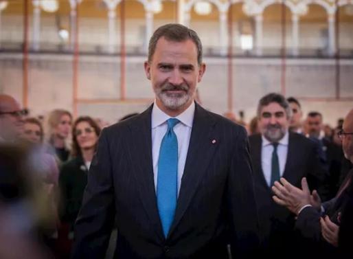El Rey Felipe VI a su llegada al acto de entrega de los premios taurinos y universitarios de la Real Maestranza de Caballería, en la Plaza de Toros Real Maestranza de Sevilla, a 20 de febrero de 2020.