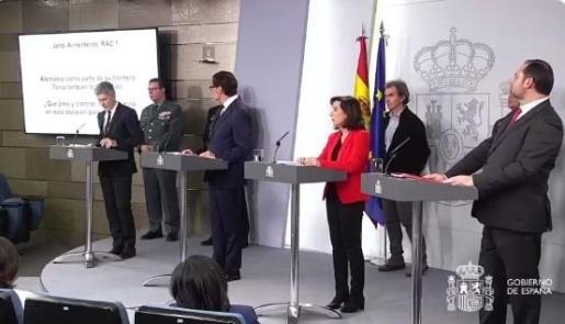 Los cuatro ministros, durante la rueda de prensa.