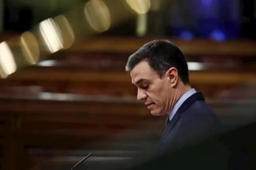 El presidente del Gobierno, Pedro Sánchez, durante su comparecencia este miércoles en el Congreso de los Diputados para explicar la declaración del estado de alarma. - Pool