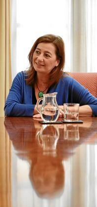 La presidenta del Govern, durante un momento de la entrevista.
