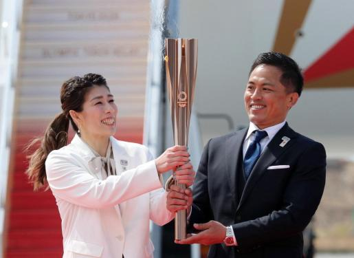 Imagen de la ceremonia de la llegada de la llama olímpica a Japón.