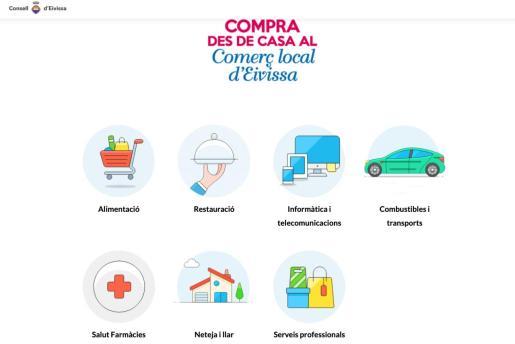 Imagen del portal impulsado desde el Consell d'Eivissa para promocionar el comercio local que trabaja a domicilio.