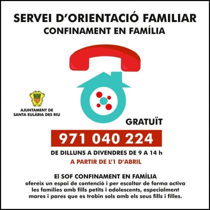 Cartel de información del servicio 'Confinamiento en Familia'.