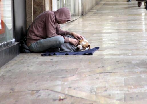 Un mendigo con su perro en las calles de Palma de Mallorca.
