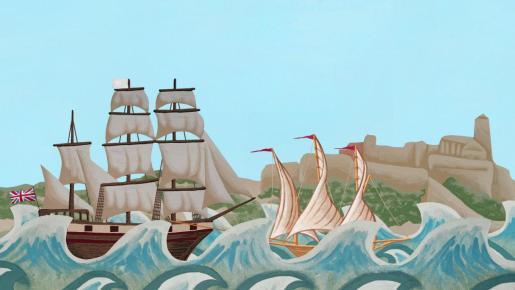Ilustración de la batalla del documental Corsaris de Enrique Villalonga