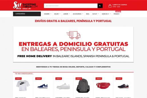 Página web de Shoppinginibiza.com.