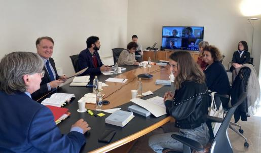 La Junta de Portavoces del Parlament balear durante una reunión telemática.