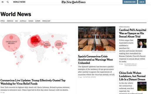 Portada digital de «The New York Times» .