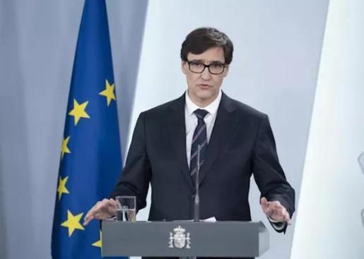 El ministro de Sanidad, Salvador Illa, durante una rueda de prensa en relación al coronavirus, en Moncloa, en Madrid (España) a 5 de abril de 2020. - Moncloa