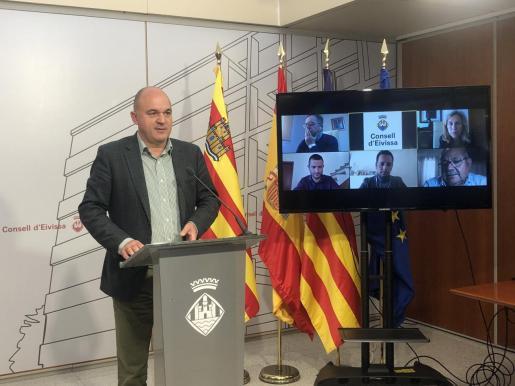 Vicent Marí, durante la reunión con los alcaldes celebrada esta semana.