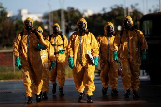 Soldados brasileños completamente equipados.