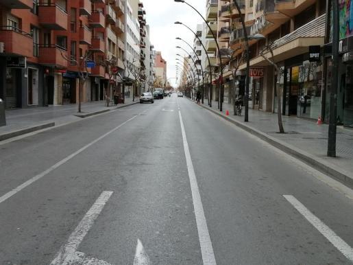 La avenida de España de Ibiza, durante este confinamiento.