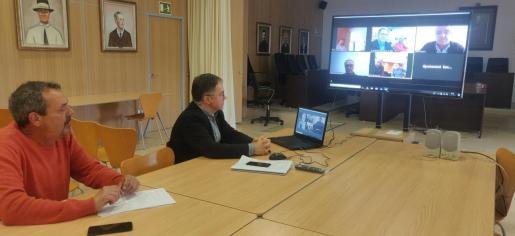 Agustinet durante la reunión telemática.