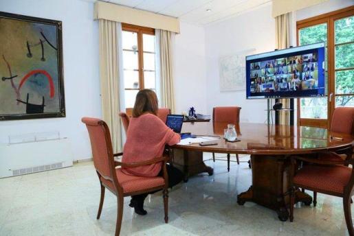 Francina Armengol, durante la videoconferencia con los presidentes de las CCAA:
