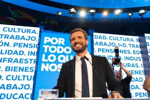 El presidente del PP, Pablo Casado, en un acto de campaña electoral.