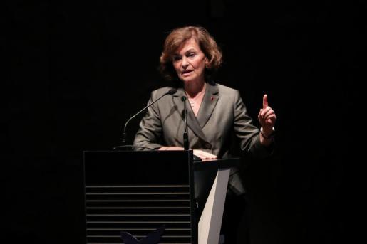 La vicepresidenta del Gobierno, Carmen Calvo, compareciendo en un acto.
