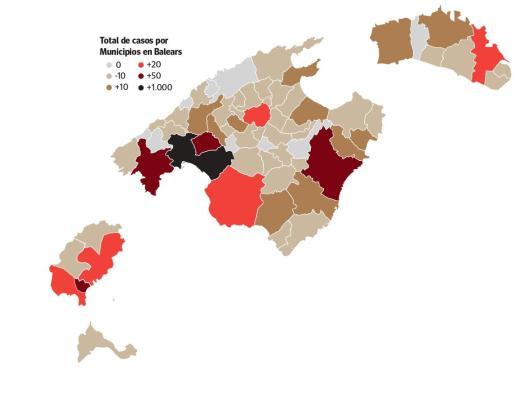 Mapa de los casos de coronavirus en Baleares a 18 de abril.