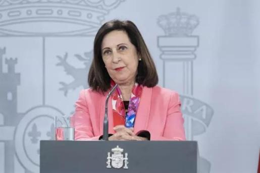 La ministra de Defensa, Margarita Robles, durante una rueda de prensa en relación al coronavirus, en Moncloa, en Madrid (España) a 5 de abril de 2020. - Moncloa
