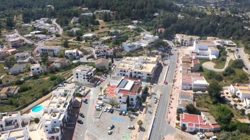 Una imagen aérea de una zona de Sant Josep durante el confinamiento.