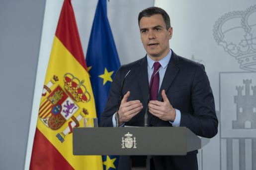 El presidente del Gobierno, Pedro Sánchez, durante la rueda de prensa posterior a la reunión del Consejo de Ministros.