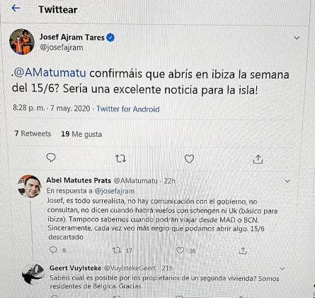 Imagen de la conversación en Twitter entre Josef Ajram y Abel Matutes Prats.