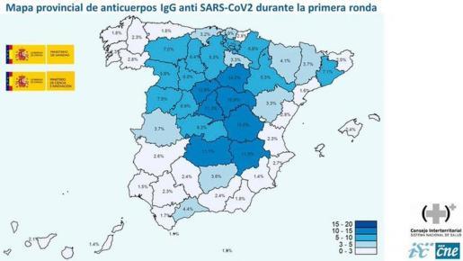Reproducción del mapa de la primera oleada del estudio del Ministerio sobre seroprevalencia.
