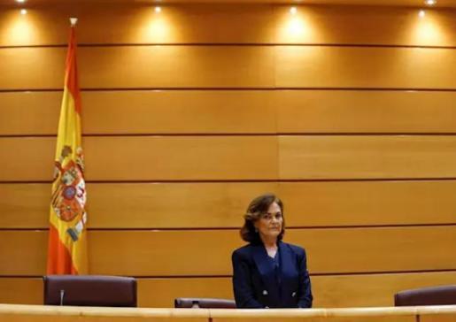 La vicepresidenta primera y ministra de la Presidencia, Relaciones con las Cortes y Memoria Democrática, Carmen Calvo, comparece ante la Comisión Constitucional del Senado. En Madrid (España) a 13 de mayo de 2020. - Pool
