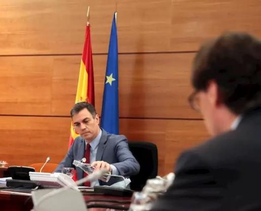 El presidente del Gobierno, Pedro Sánchez, preside el consejo de Ministros donde se aprobará un nuevo tramo de 20.000 millones de euros de la línea de avales. - Moncloa