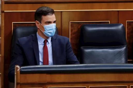 El presidente del Gobierno, Pedro Sánchez, al inicio del debate este miércoles en el Congreso de la quinta prórroga del estado de alarma. - Pool