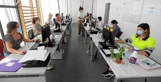 Los rastreadores trabajan de momento desde esta sala de la UBS Es Molinar.