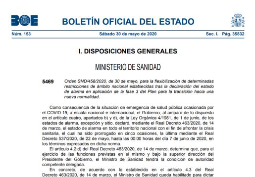 El BOE ha publicado este sábado, 30 de mayo, la Orden SND/458/2020 sobre la flexibilización de determinadas restricciones de la fase 3.