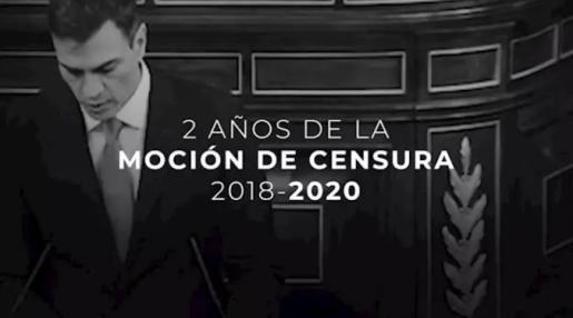 """Captura de pantalla del vídeo del PP en el que recuerda la moción de censura """"injusta"""" que llevó a Sánchez al poder y en el que asegura que """"los españoles no se merecen un gobierno que les mienta""""."""